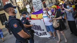 Manifestación contra la Monarquía y a favor de la república en Madrid, el domingo 9 de agosto.