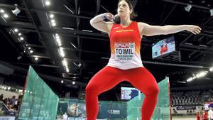 Toimil, justo antes de hacer el lanzamiento que supuso el récord de España.