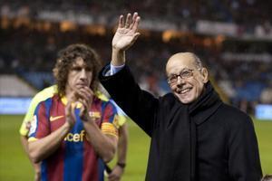 Luis Suárez, junto a Puyol en La Coruña, en una imagen de archivo