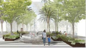 Imagen virtual de las zonas de paseo que se conoceran como refugios climáticos, protegidos del calor.