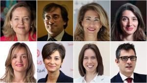 Nadia Calviño, José Manuel Albares, Raquel Sánchez, Pilar Llop, Pilar Alegría, Isabel Rodríguez, Diana Morant y Félix Bolaños.