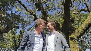 Alberto Núñez Feijóo y Pablo Casado, el pasado 9 de septiembre, en un acto en Cerdedo-Cotobade (Pontevedra).