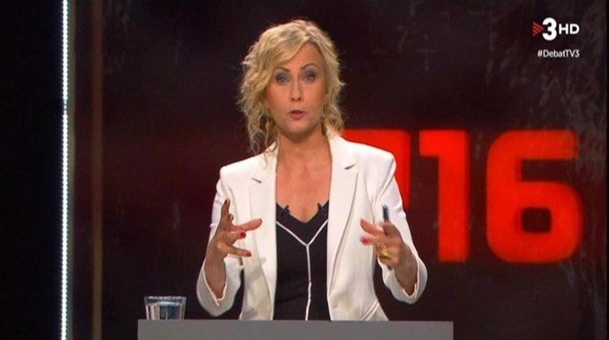 Mònica Terribas, durante el debate electoral de TV-3.
