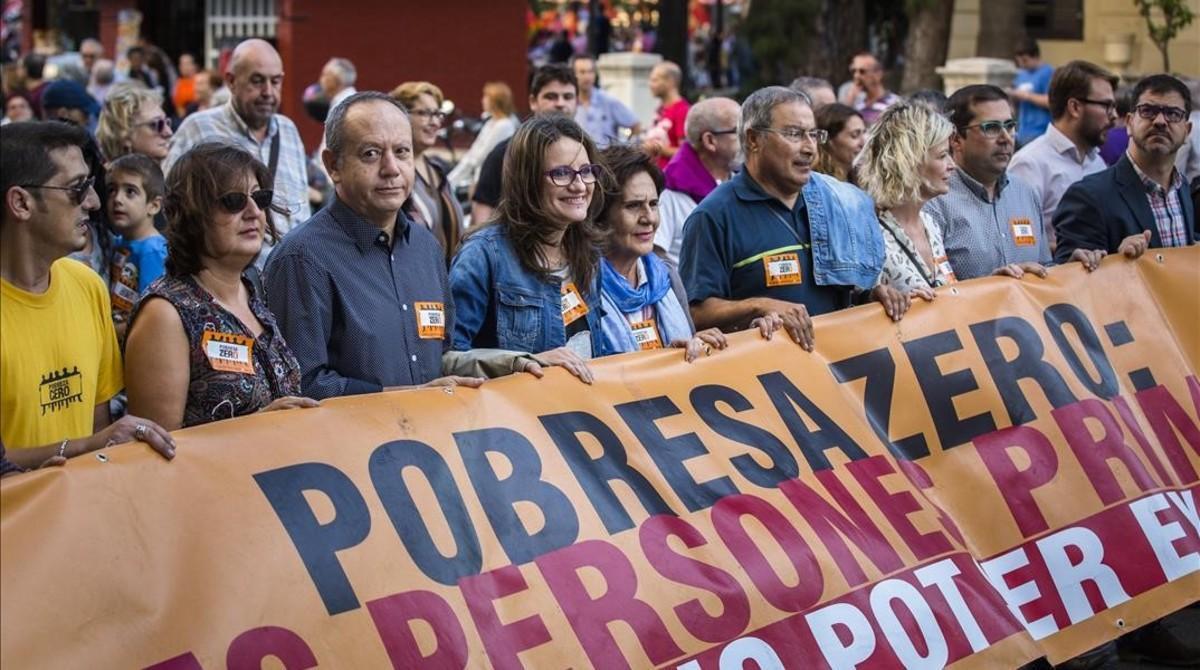 Valencia adelantó al pasado viernes una manifestación por la erradicación de la pobreza.