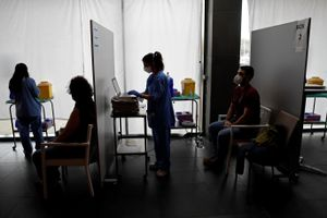 Un punto de vacunación en Barcelona.