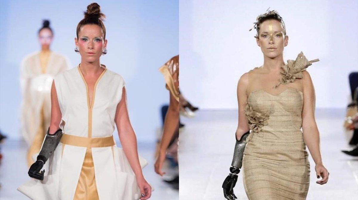 La modelo Rebekah Marine posa en la pasarela con su brazo biónico.