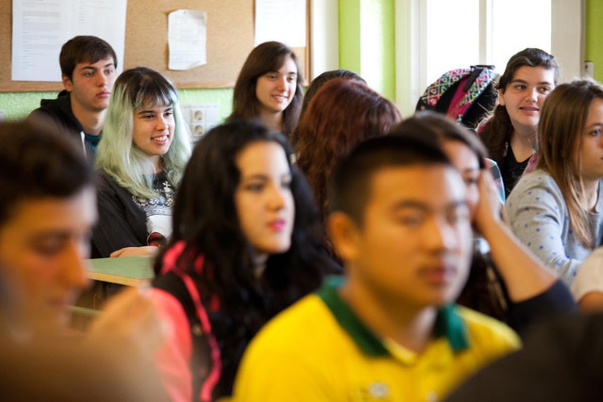 Alumnos de una clase de cuarto de ESO de un instituto de Terrassa.