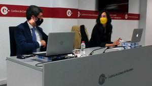 Joan Canadell y Mònica Roca, el día del anuncio de que Canadell se presenta como candidato de Junts per Catalunya.