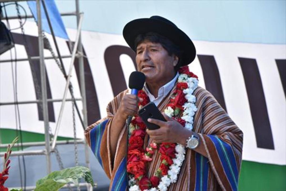 El presidente 8Evo Morales, el martes, en una intervención pública en Tiquipaya.