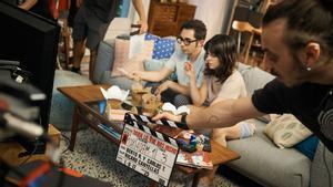 Berto Romero y Eva Ugarte, en el rodaje de 'Mira lo que has hecho'.
