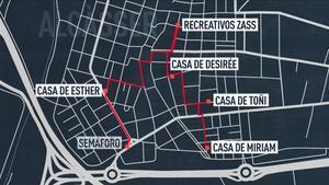 Croquis del documental 'El caso Alcàsser', de Netflix, que recrea el recorrido de Míriam, Toñi y Desirée antes de ser asesinadas.