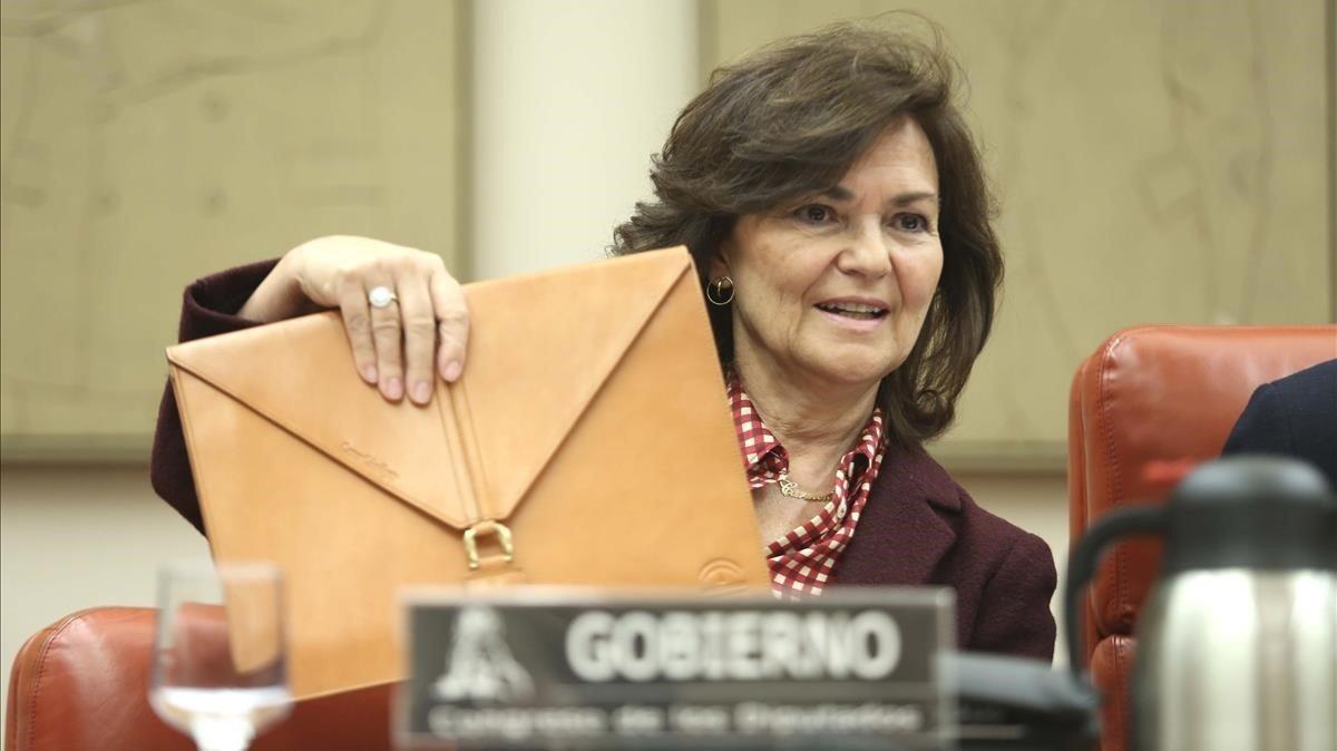 La vicepresidenta del Gobierno, Carmen Calvo, en el Congreso.