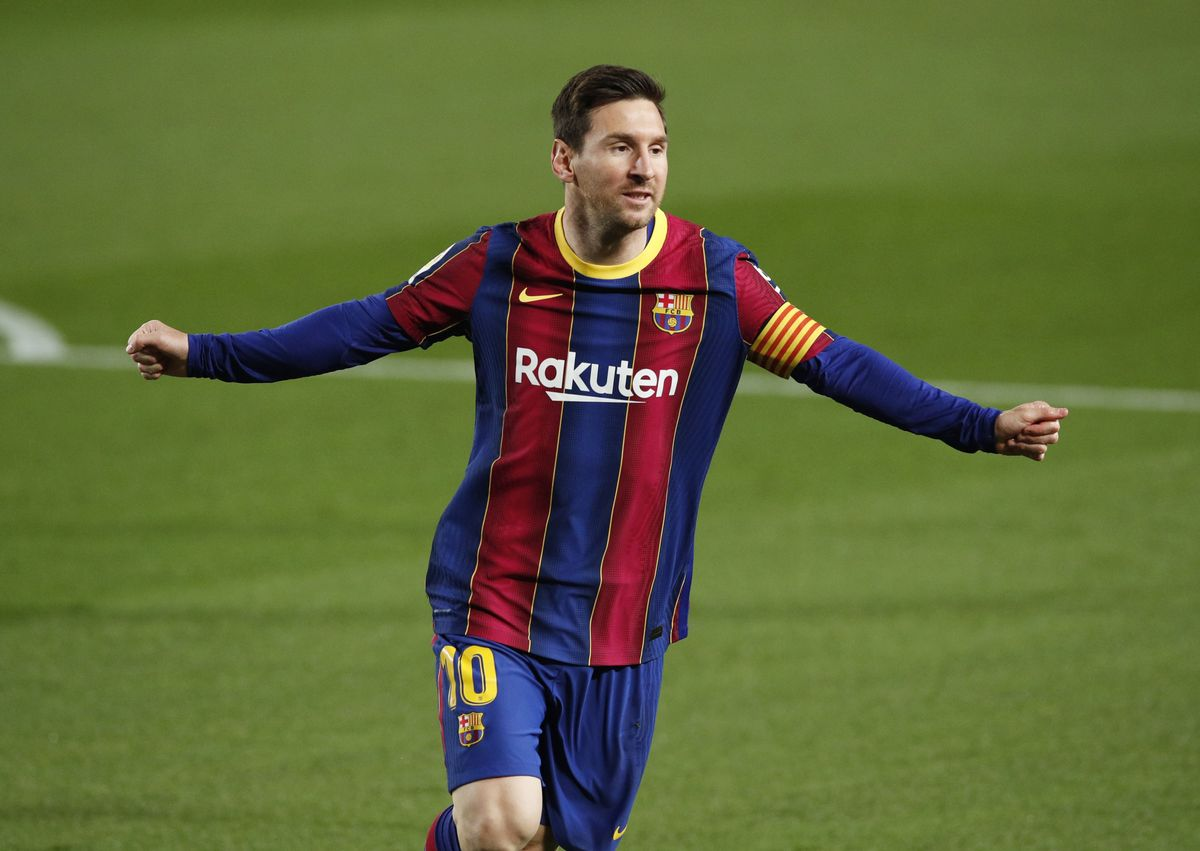 Leo Messi celebra su segundo gol, anoche, ante el Getafe.