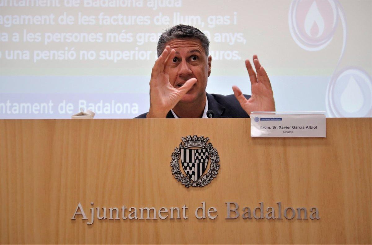 El alcalde de Badalona, Xavier García Albiol, en una rueda de prensa.