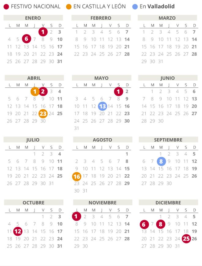 Calendario laboral de Valladolid del 2021.