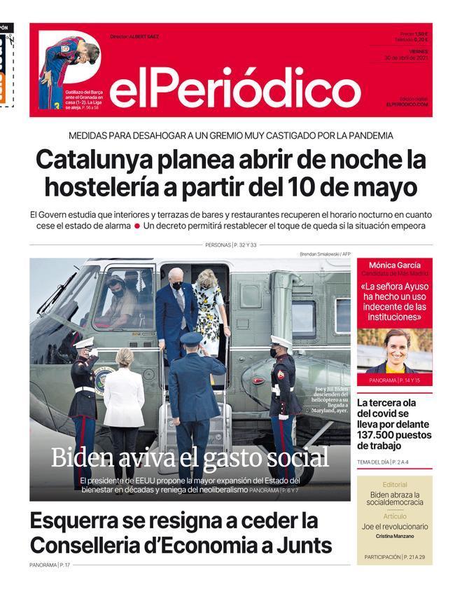 La portada d'EL PERIÓDICO del 30 d'abril del 2021