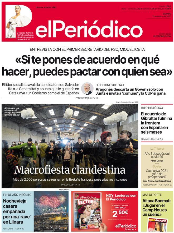 La portada de EL PERIÓDICO del 2 de enero del 2021