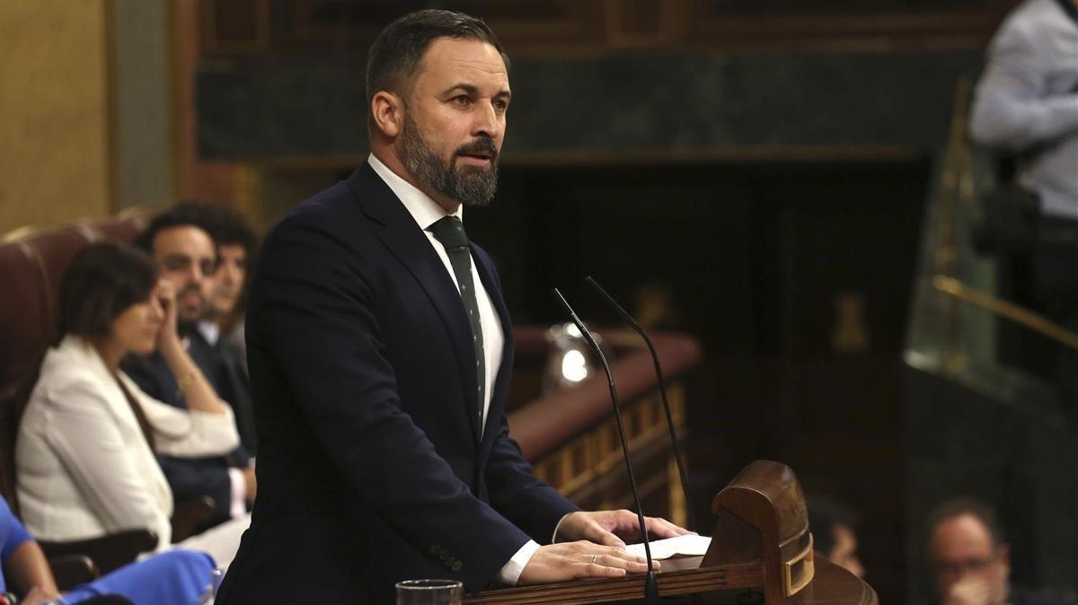 Santiago Abascal, el jueves, en la última jornada del debate de investidura.