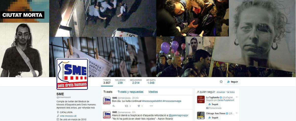 Imagen que los 'hackers' colgaronen la cuenta de Twitter del sindicato de los Mossos d'Esquadra.