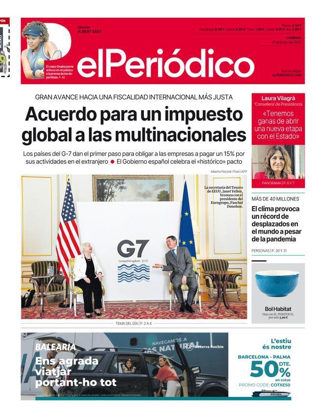 La portada d'EL PERIÓDICO del 6 de juny del 2021
