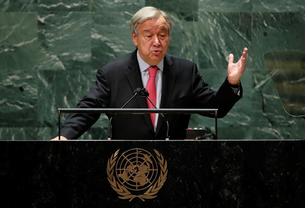 El secretario general de la ONU, António Guterres, en la apertura de la 76ª Asamblea General de la ONU.