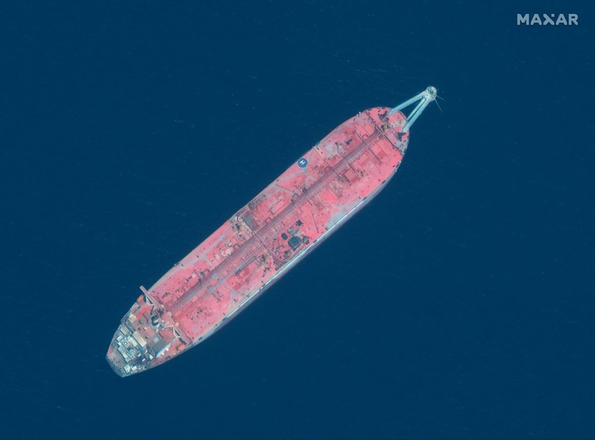 A handout satellite image released July 15, 2020 shows a close up view of FSO Safer oil tanker anchored off the marine terminal of Ras Isa, Yemen June 17, 2020. Picture taken June 17, 2020. Satellite image ©2020 Maxar Technologies via REUTERS ATTENTION EDITORS - THIS IMAGE HAS BEEN SUPPLIED BY A THIRD PARTY. MANDATORY CREDIT. NO RESALES. NO ARCHIVES. MUST NOT OBSCURE WATERMARK