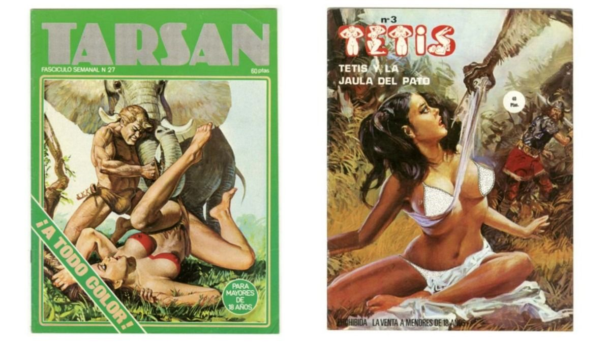 Muerto Franco y en plena época del destape, aún era necesario, cual Daniele da Volterra 'Il Braghettone, pintar burdamente ropa interior a las protagonistas de las portadas de los cómics, de 1977, el de la izquierda, y de 1984, el de la derecha.