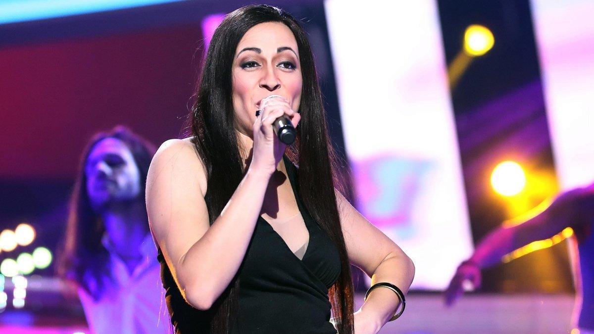 María Villalón imitando a Ángeles Muñoz (Camela) durante la tercera gala de 'Tu cara me suena 7'.