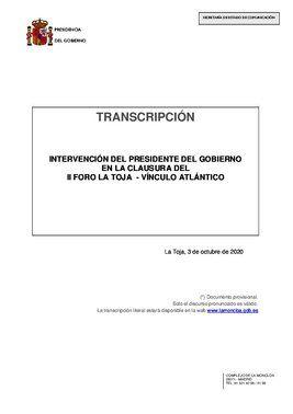 Intervención íntegra del presidente del Gobierno, Pedro Sánchez, en la clausura del II Foro de La Toja-Vínculo Atlántico, este 3 de octubre de 2020.