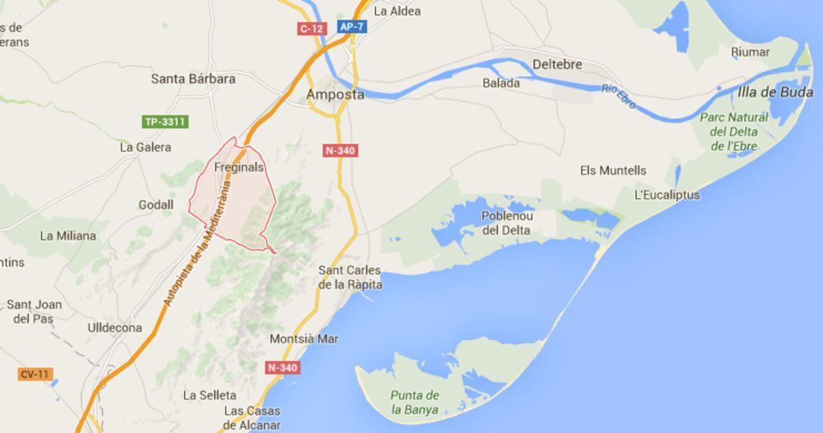 Accidente de un autocar en Freginals (Montsià), cerca de Amposta.