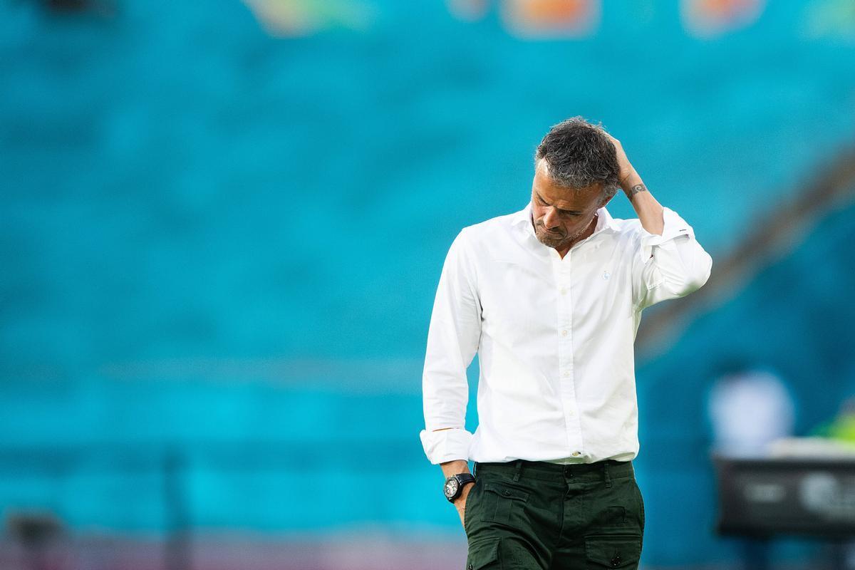 Luis Enrique durante el partido ante Suecia