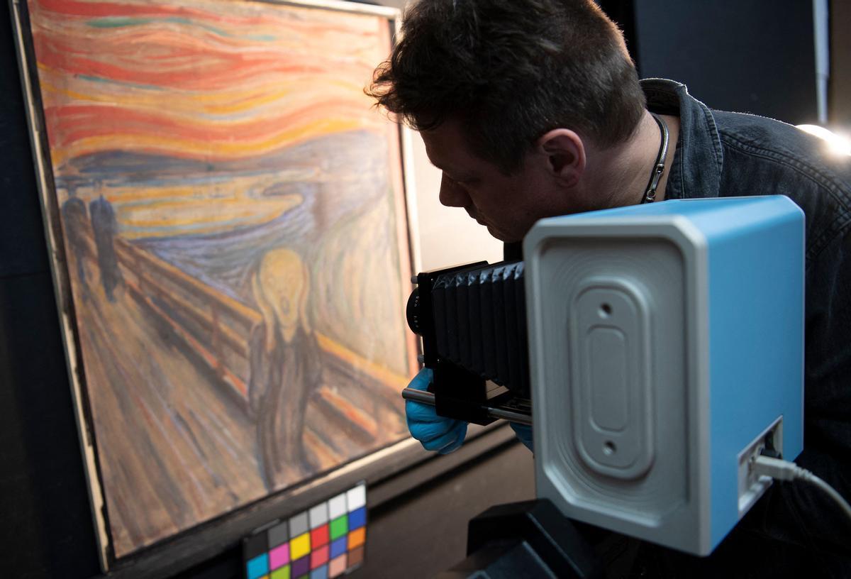 Escaneo de 'El grito' de Munch, en el Museo Nacional de Oslo.