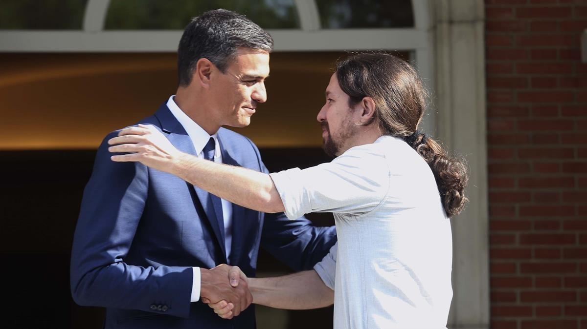 Imagen de archivo de Pedro Sánchez yPablo Iglesias en la Moncloa el pasado 6 de septiembre.