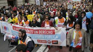Manifestación en el centro de Madrid por el Ere planteado por la dirección en diciembre de 2012.