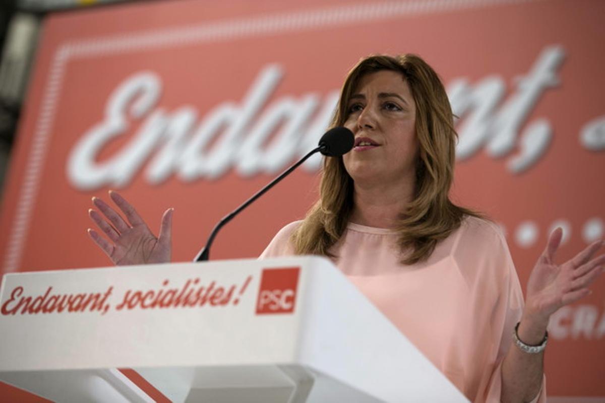 Susana Díaz, presidenta de la Junta de Andalucía y dirigente socialista, interviene durante el Congreso extraordinario del PSC.