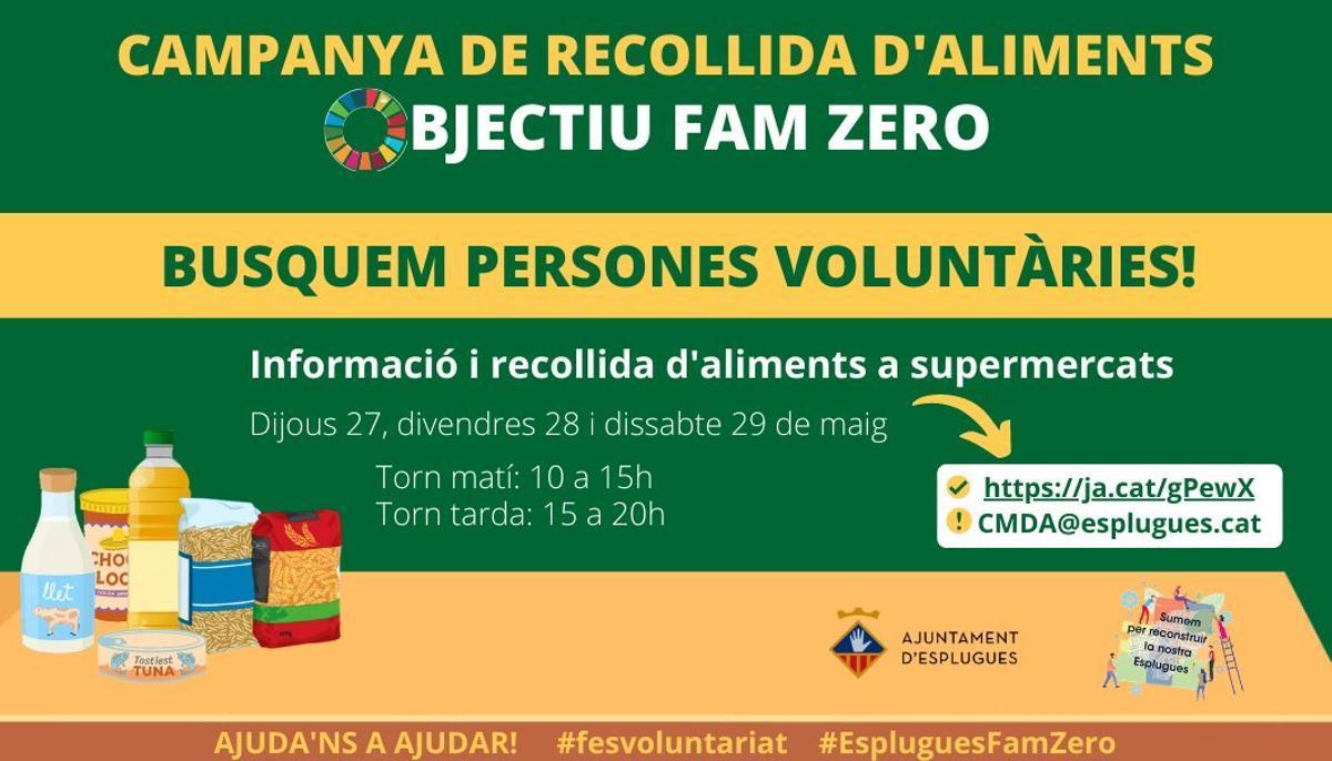 Cartel de la nueva campaña de recogida de alimentos de Esplugues