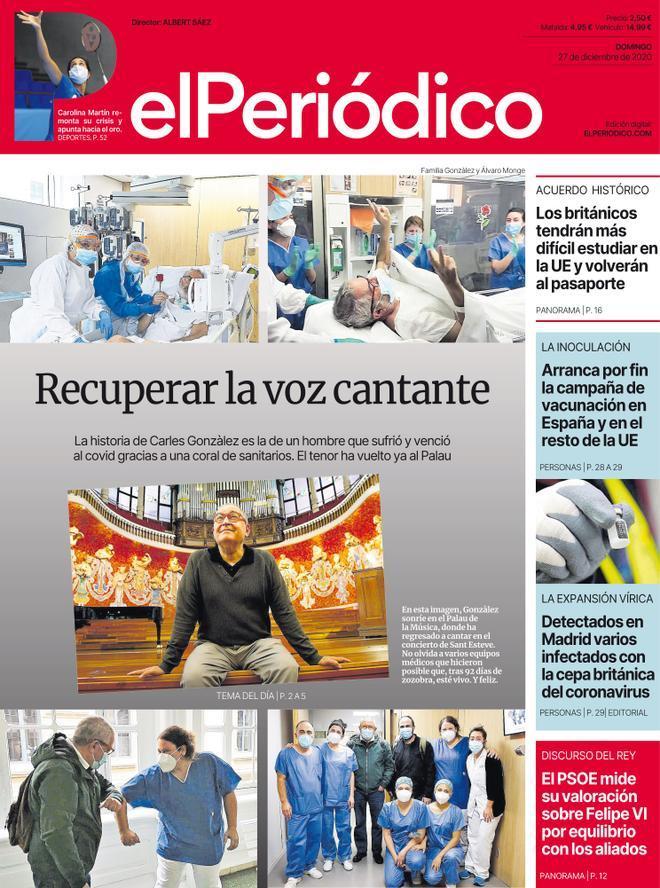 La portada de EL PERIÓDICO del 27 de diciembre del 2020