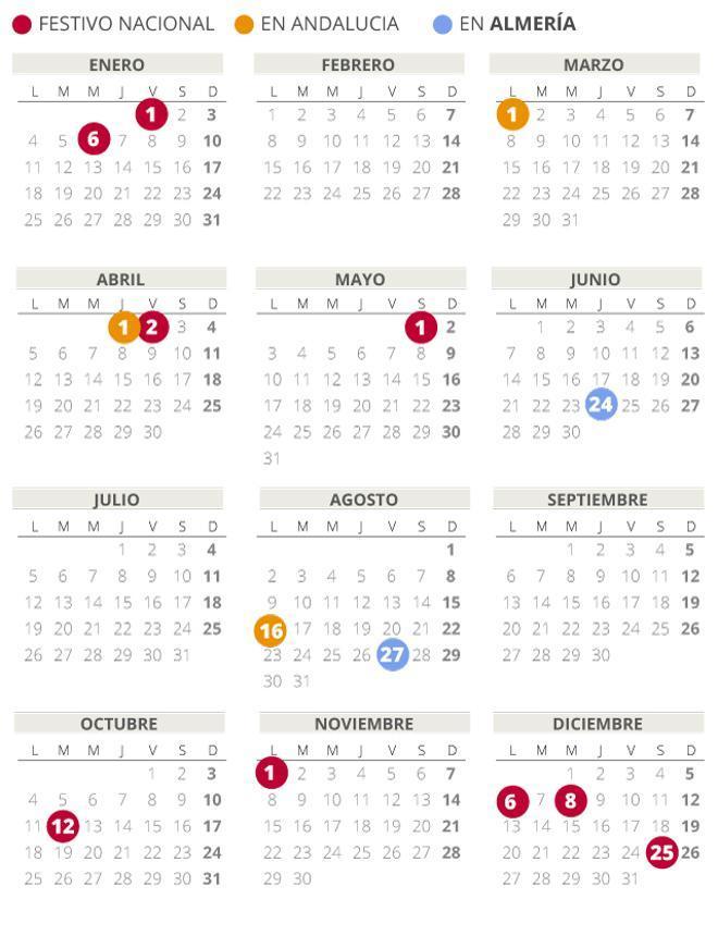 Calendario laboral de Almería del 2021 (con todos los festivos)