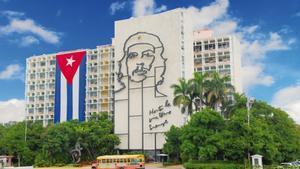 Edificio del Ministerio del Interior en la Plaza de la Revolución en La Habana, Cuba.