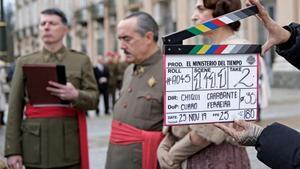 Franco y su esposa, instantes antes de rodar una escena de la cuarta temporada.