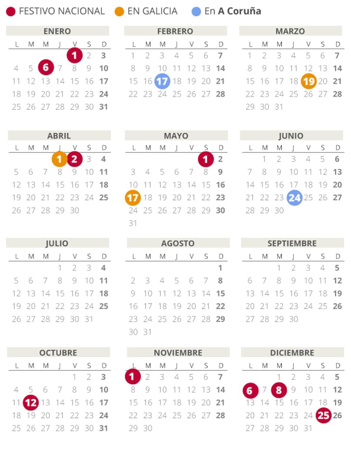 Calendario Laboral De A Coruña 2021 Con Todos Los Festivos