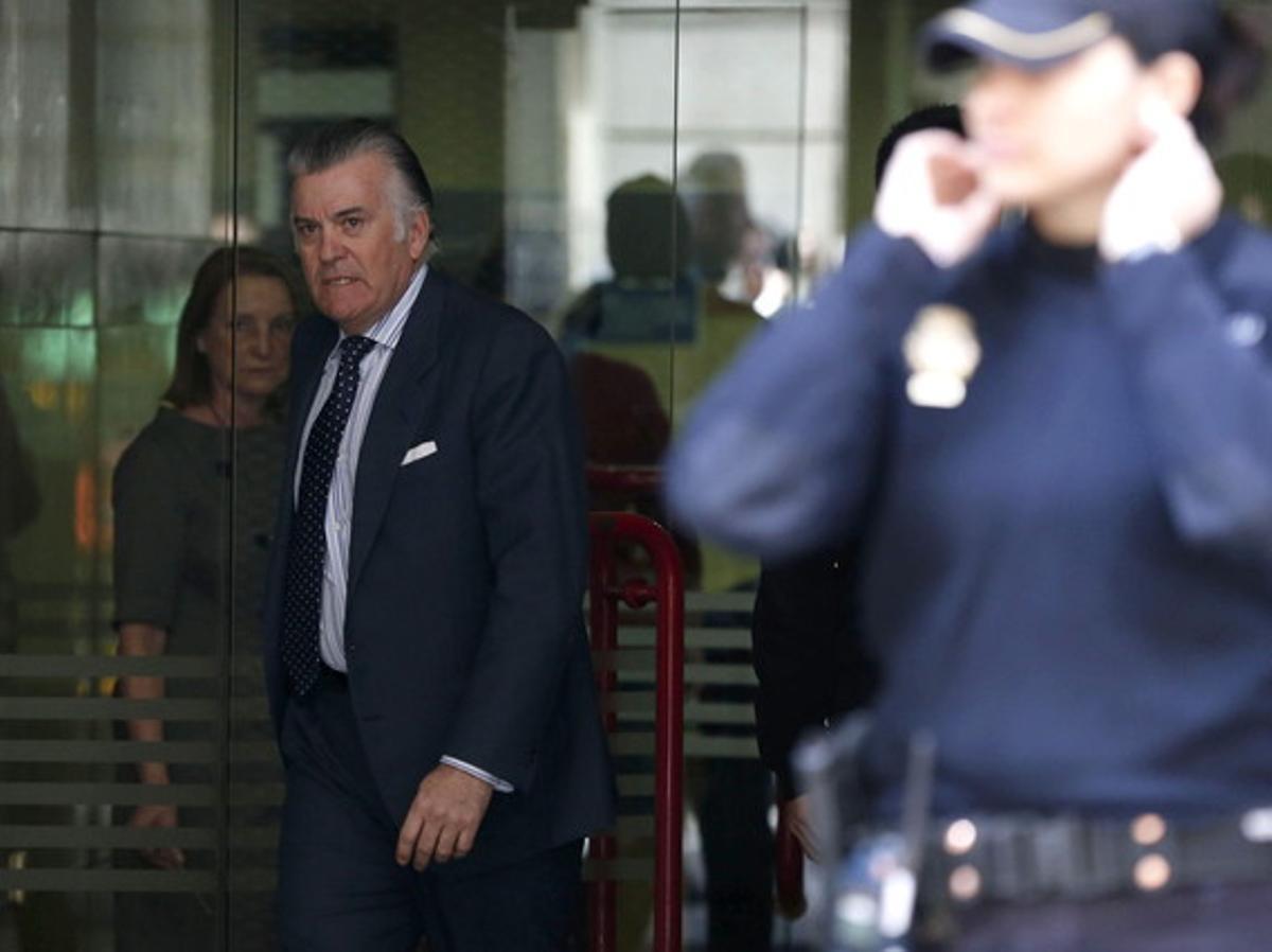 Luis Bárcenas sale de la Audiencia Nacional, el pasado 15 de abril.