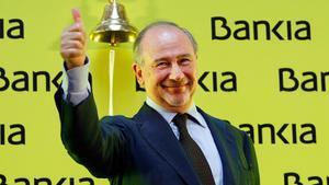 La Audiencia Nacional absuelve a Rato y al resto de acusados por la salida a Bolsa de Bankia. En la foto,Rodrigo Rato, en el acto de salida a bolsa de la entidaden el 2011.