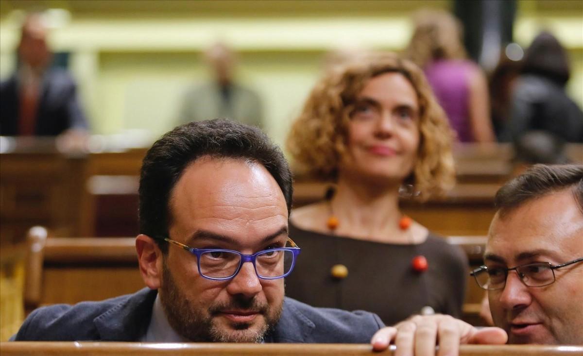 El portavoz del PSOE, Antonio Hernando, en la última sesión plenaria del Congreso, el pasado martes