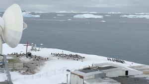 Fotografía cedida por el Ejercito de Chile que muestra el mar Glacial Antártico junto a la base militar Bernardo O Higgins Riquelme.