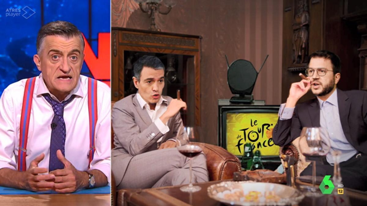 Pedro Sánchez y Pere Aragonès, en 'El intermedio'.