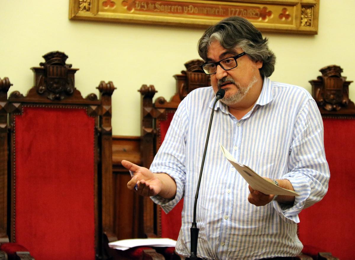 Amadeu Aguado durante una intervención en un pleno de 2017
