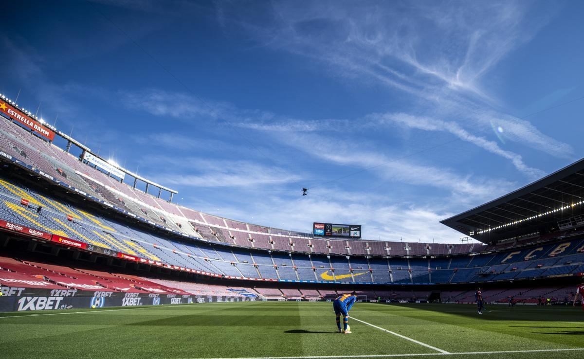 Leo Messi, en un desértico Camp Nou.
