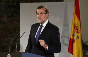 Mariano Rajoy, en una conferència sobre la reforma de l'Administració, dijous a Madrid.