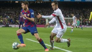 Sergi Roberto durante el partido de Liga entre el FCBarcelona y el Mallorca el pasado mes de diciembre.